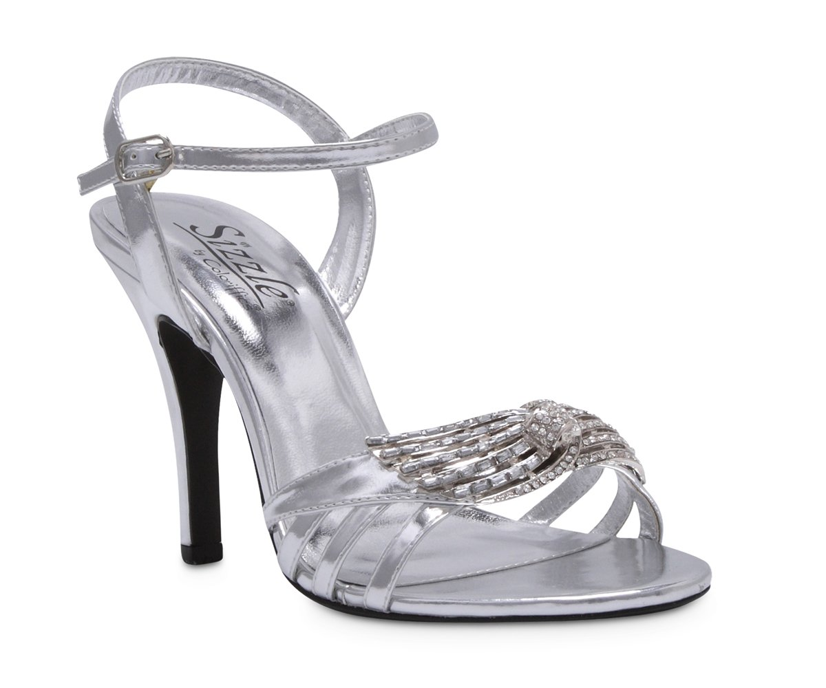 Silver Metallic Rhinestone Bridal High Heel Shoes