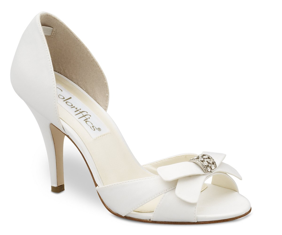 White Satin Closed Back Bridal Dress High Heel Shoes