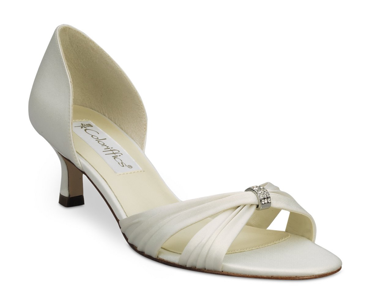 Ivory Satin Slip On Bridal Dress High Heel Shoes