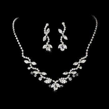Silver Sparkling Swarovski Crystal Necklace Earring Set