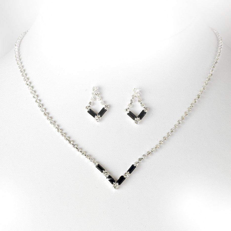 Silver Black Crystal V-Shaped Necklace Earring Set