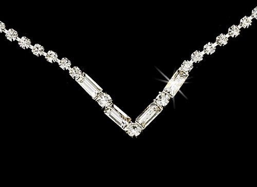 Silver Clear Crystal V-Shaped Necklace Earring Set