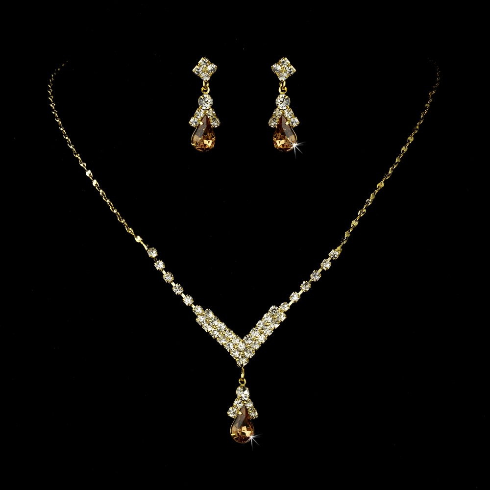 Gold Light Brown Crystal Teardrop Necklace Earring Set