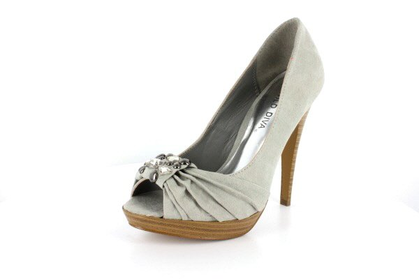 New Gray Suede Rhinestone Pump High Heels Shoes
