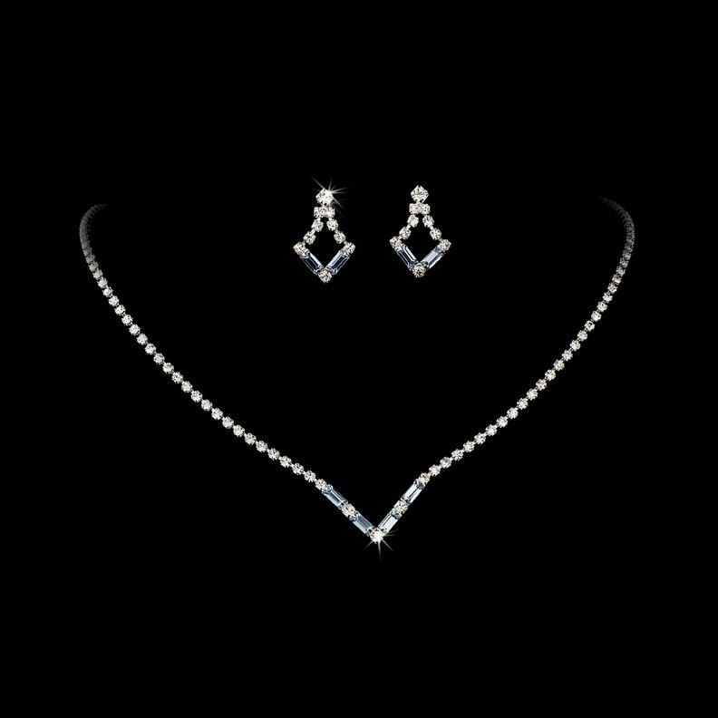 Silver Light Blue Crystal V-Shaped Necklace Earring Set