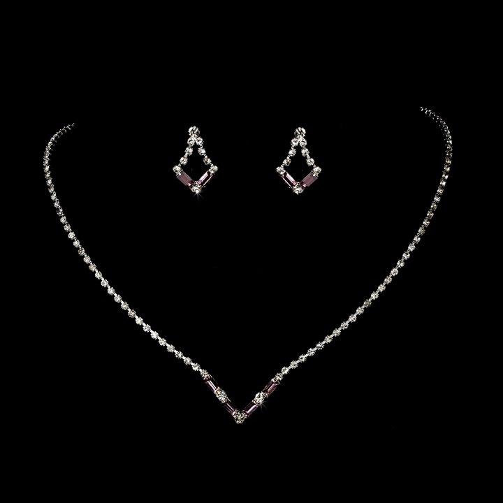 Silver Light Amethyst Crystal  Necklace Earring Set
