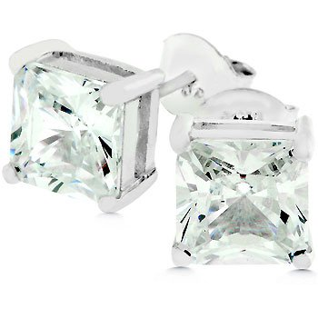 NEW White Gold 925 Sterling Silver Studs CZ Earrings
