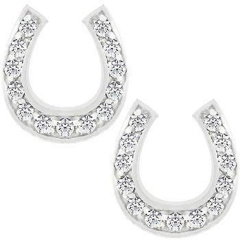 NEW White Gold Rhodium Bonded CZ Horseshoe Stud Earring