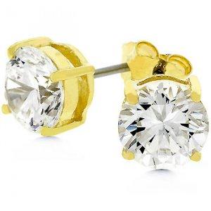 NEW 14k Gold 925 Sterling Silver 7mm CZ Stud Earrings