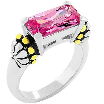 NEW 14k White Gold Emerald Cut Pink ice CZ Ring