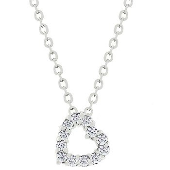 NEW White Gold Silver CZ Heart Pendant Necklace