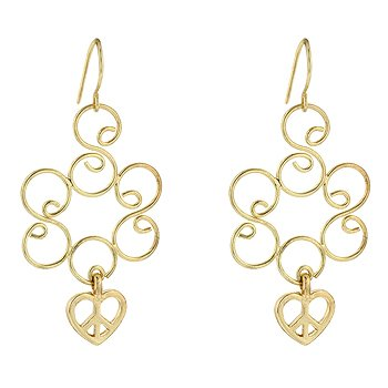 NEW 14K Gold Golden Heart Dangle Earrings