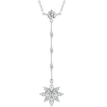 NEW White Gold Marquise Flower Pendant Necklace