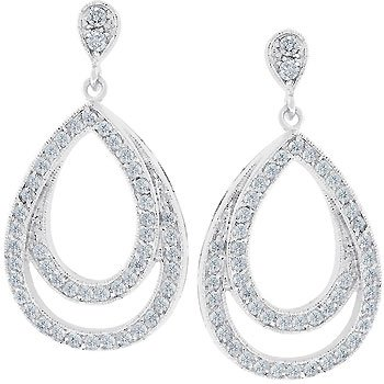 NEW White Gold Silver Evening Drop CZ Earrings