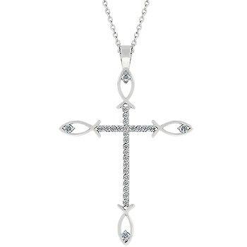 NEW White Gold Peace Cross CZ Pendant Necklace