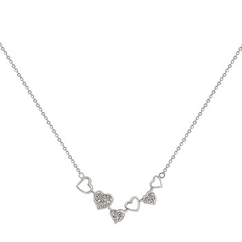 NEW White Gold Sterling Silver Necklace CZ Hearts