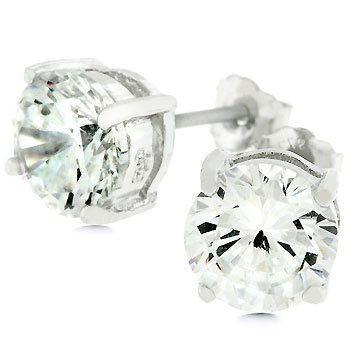 NEW White Gold 925 Sterling Silver  Stud Earrings
