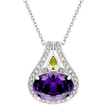 NEW White Gold CZ Purple Drop Pendant Necklace