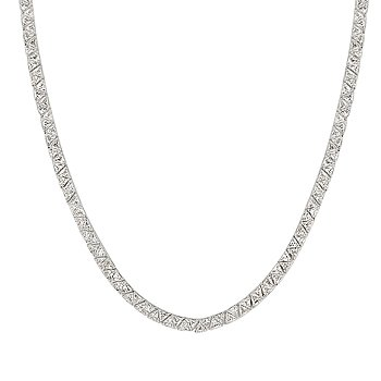 NEW White Gold Silver  Necklace CZ Trillion Cut Clear