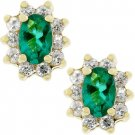 NEW 14K Gold CZ Emerald Flower Stud Earrings