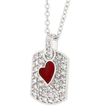 NEW Whote Gold CZ Doggy Tag Pendant Necklace