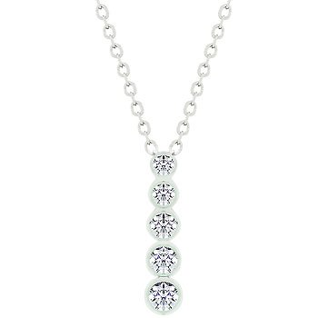 NEW White Gold CZ Journey Pendant Necklace