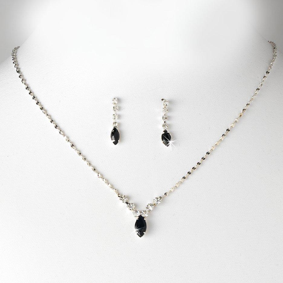 Silver Black Rhinestone Bridal Necklace Earring Set