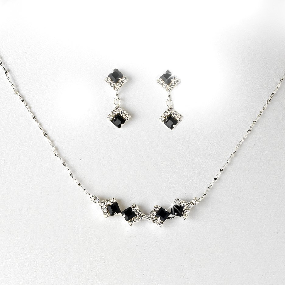 Silver Black Clear Crystal Square Necklace Earring Set