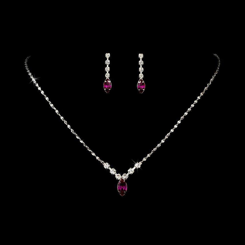 Silver Fuchsia Rhinestone Bridal Necklace Earring Set