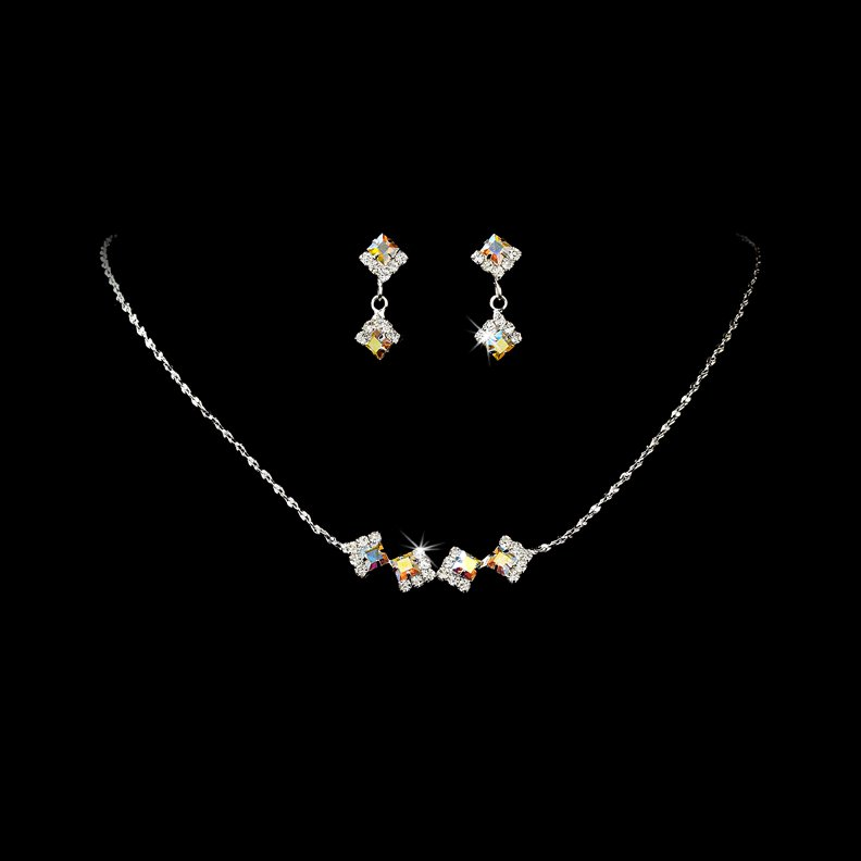 Silver AB Clear Crystal Square Necklace Earring Set