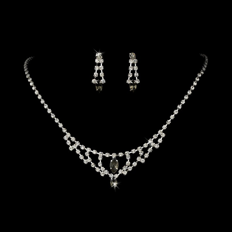 Silver Grey Crystal Chandelier Necklace Earring Set