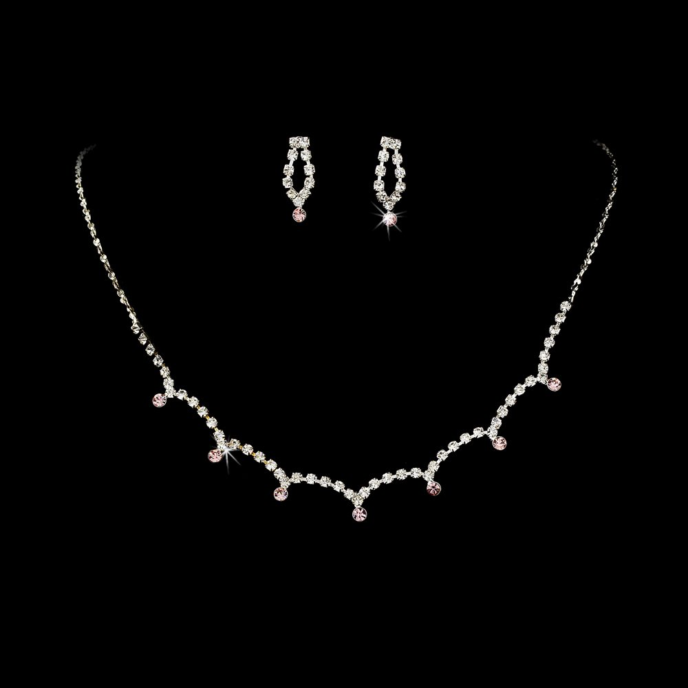 Silver Pink Clear Crystal Necklace Earring Set