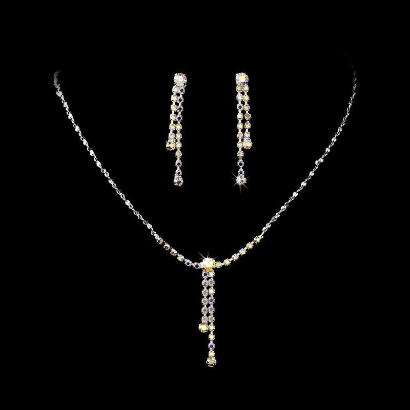 Silver AB Crystal Rhinestone Drop Necklace Earring Set