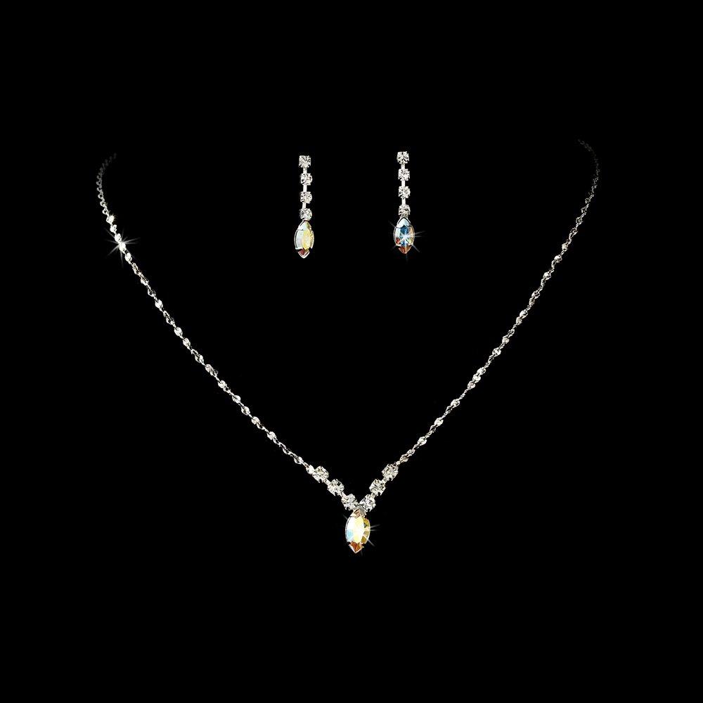 Silver Crystal Rhinestone Bridal Necklace Earring Set
