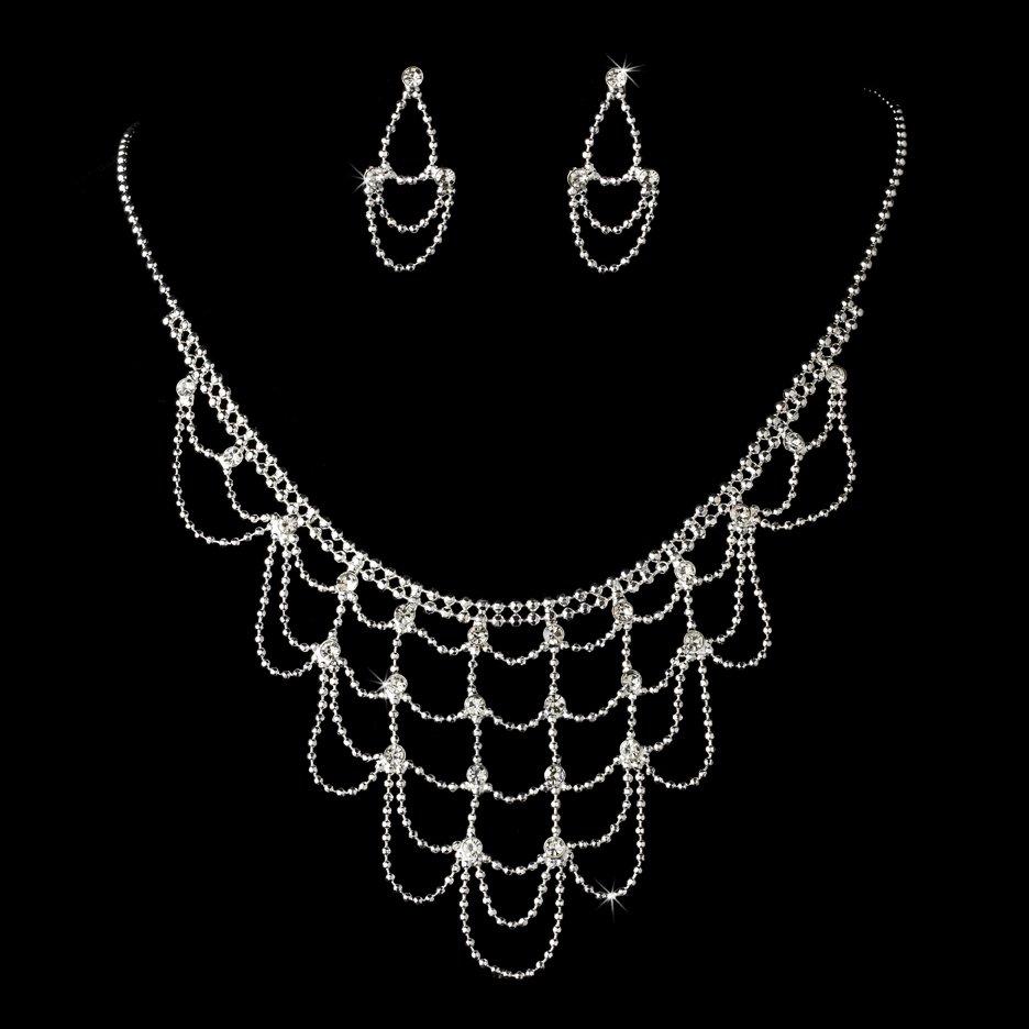 Silver Clear Rhinestone Chandelier Necklace Earring Set
