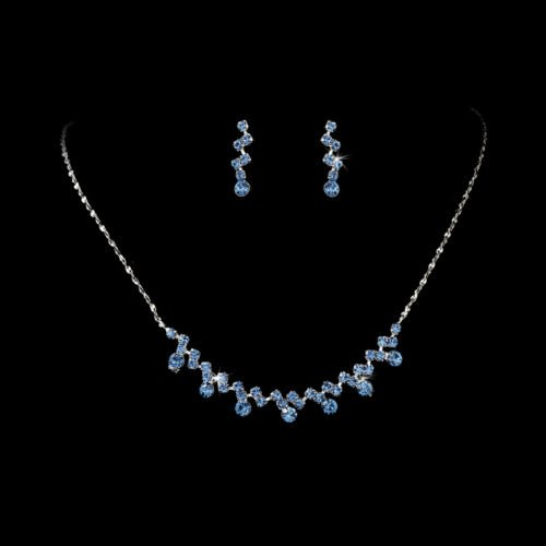 Silver Light Blue Crystal Accented Necklace Earring Set