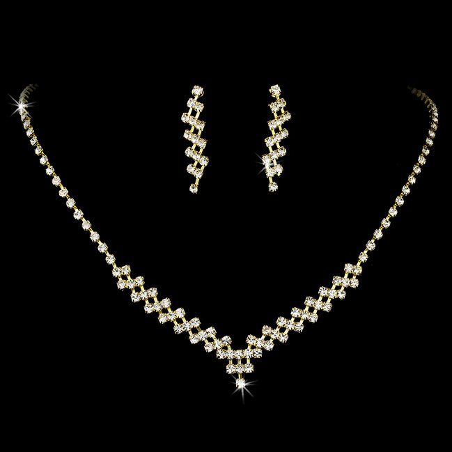Gold Clear Rhinestone Necklace Earring Set