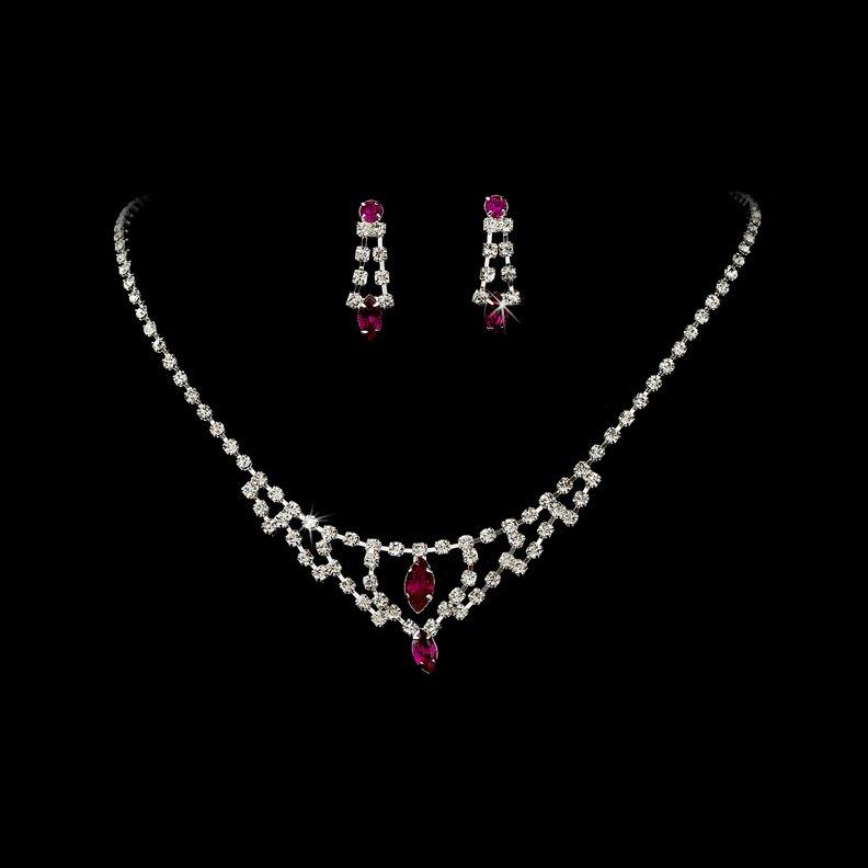 Silver Fuchsia Crystal Chandelier Necklace Earring Set
