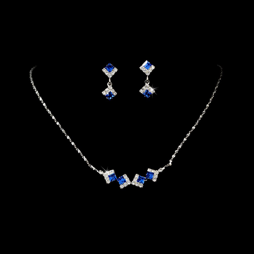 Silver Blue Clear Crystal Square Necklace Earring Set