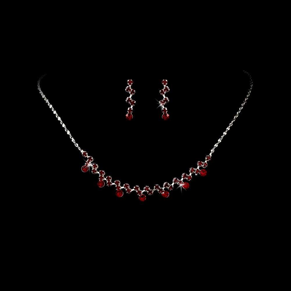 Silver Burgundy Crystal Accented Necklace Earring Set
