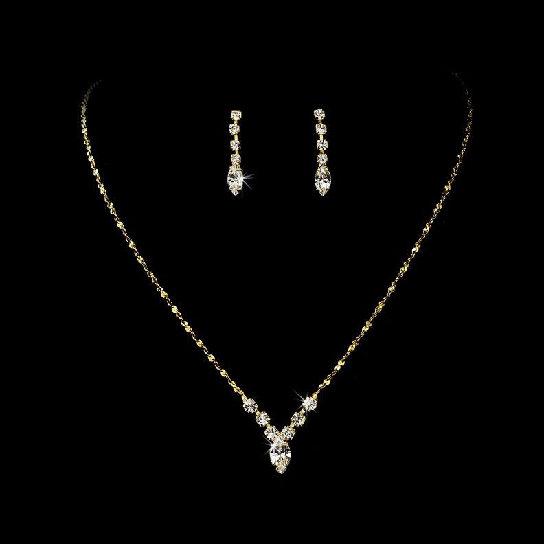 Gold Crystal Rhinestone Bridal Necklace Earring Set