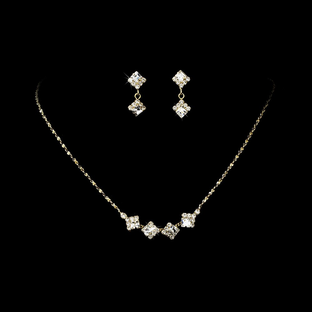 Gold Clear Crystal Square Necklace Earring Set