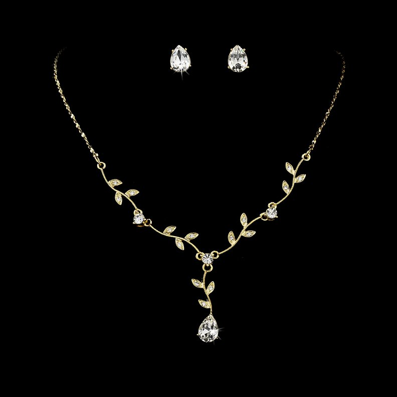 Gold Clear Crystal Floral Stud Necklace Earring Set
