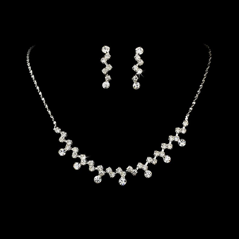 Silver Clear Crystal Accented Necklace Earring Set