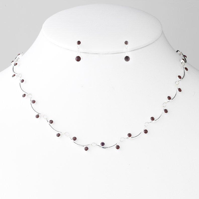 Silver Burgundy Crystal Bridal Necklace Earring Set
