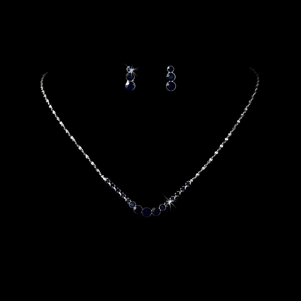 Silver Navy Blue Rhinestone Necklace Earring Set