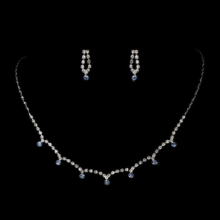 Silver Light Blue Clear Crystal Necklace Earring Set