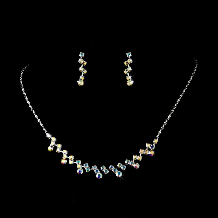 Silver AB Crystal Accented Necklace Earring Set