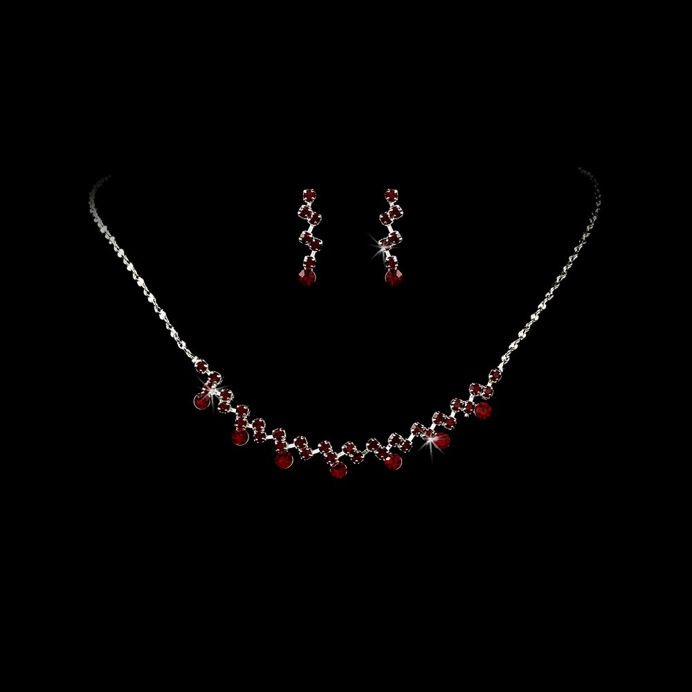 Silver Red Crystal Accented Necklace Earring Set