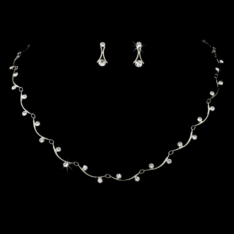 Silver Clear Crystal Bridal Necklace Earring Set